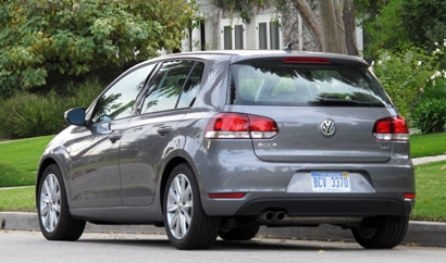 A three-quarter rear view of a 2010 Volkswagen Golf TDI