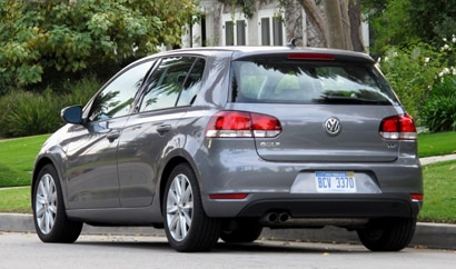 A three-quarter rear view of the 2010 Volkswagen Golf TDI
