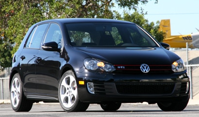A three-quarter front view of a 2010 Volkswagen GTI