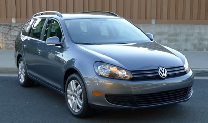 A three-quarter front view of a 2012 Volkswagen Jetta SportWagen TDI