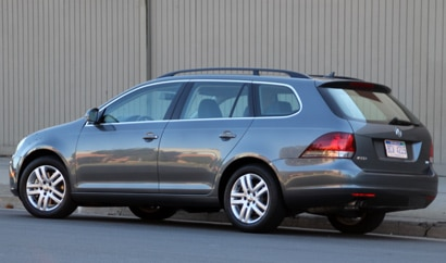 A three-quarter rear view of a 2012 Volkswagen Jetta Sportwagen TDI