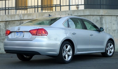 A three-quarter front view of a 2013 Volkswagen Passat TDI SE