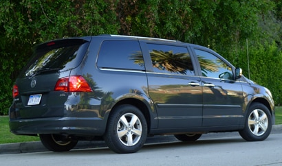 A three-quarter rear view of a 2012 Volkswagen Routan