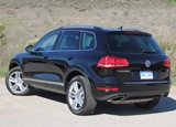 A three-quarter rear view of a 2011 Volkswagen Touareg Hybrid