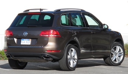 A three-quarter rear view of a 2011 Volkswagen Touareg TDI