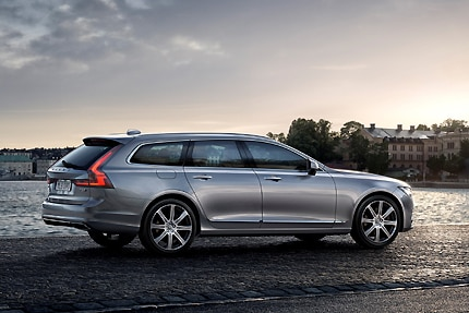 A three-quarter rear view of the 2017 Volvo V90 station wagon