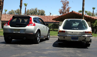 A 2008 Volvo C30 and a 1971 Volvo 1800ES Hatchback sit outside La Casa del Zorro Resort in Borrego Springs.