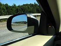 The Volvo S80 V8's mirror with Blind Spot Alert