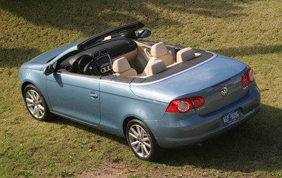 A top view of a light blue 2007 Volkswagen Eos