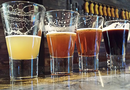 A flight of beers at Aftershock Brewing Co. in Temecula, CA