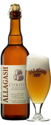 Allagash Curieux, one of our Top 10 Craft Beers, a dark golden, Belgian-style ale