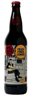 New Belgium Peach Porch Lounger contains peach juice, molasses, grits, biscuit malt, lemon peel and Brettanomyces yeast