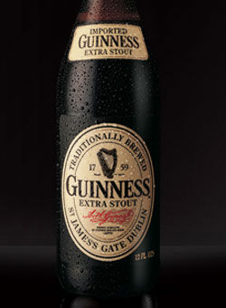Guinness Extra Stout, one of our Top Irish Beers
