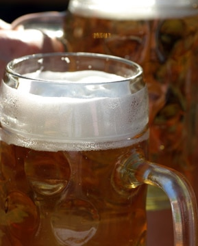 The malty, full-bodied flavor of Oktoberfest beer is perfect for brisk fall weather