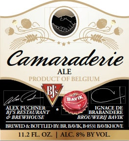 BJ's Camaraderie Ale is a cross between a hoppy American-style pale ale and a traditional Belgian-style golden ale