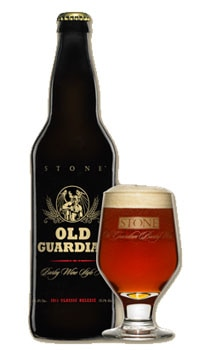 A bottle of Stone Old Guardian Barley Wine