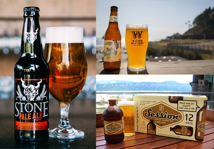 A sampling of GAYOT's Top 10 Summer Beers: Stone Pale Ale 2.0, Widmer Brothers Hefe Shandy and Full Sail Session Cream Summer Ale