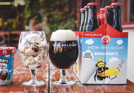 New Belgium Salted Caramel Brownie Brown Ale is a collaboration with Ben & Jerry's