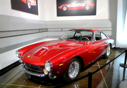 A 1963 Ferrari Berlinetta Luso on display at The Petersen Automotive Museum