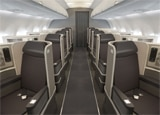 The first class cabin of American Airlines Airbus A321