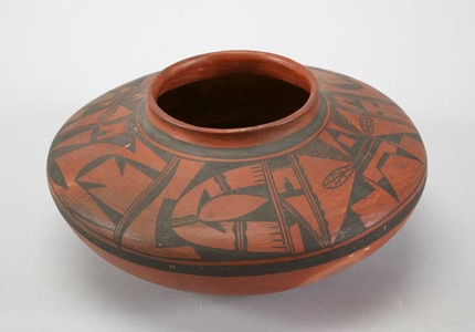 A Hopi seed jar on exhibit at the Southwest Museum