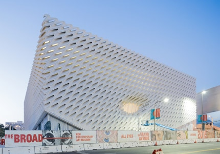 The Broad Museum makes its home on Grand Avenue in Los Angeles