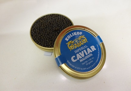 Kolikof Caviar Imperial is one of several varieties of sustainably farmed fish eggs