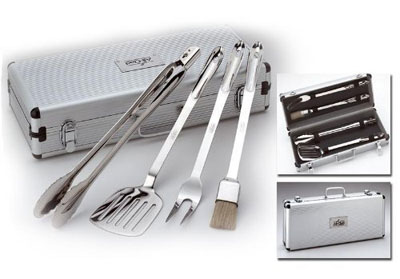 The heavy duty tools in the BBQ Tool Set by All-Clad are made from 18/10 stainless steel