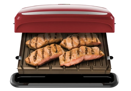 Grilling on the removable plates of the George Foreman 4-Serving grill makes cleaning a breeze