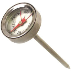 With the Charcoal Companion Reusable Steak Button Thermometer, you don't have to slice meat to guarantee doneness