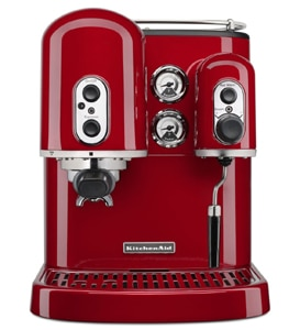 The KitchenAid Pro Line Series Espresso Maker in candy apple red, one of GAYOT's Top 10 Espresso Machines