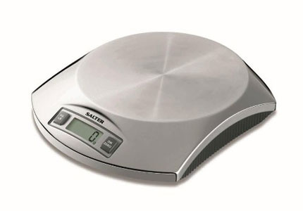 The Salter Stainless Steel Electronic Scale measures up to five pounds