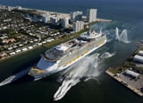 The enormous Allure of the Seas coming into port at Ft. Lauderdale, Florida