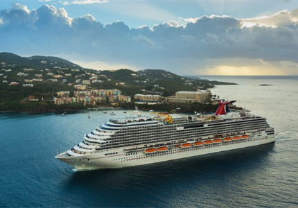 Carnival Breeze sailing in St. Thomas