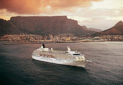 Crystal Cruises' Crystal Symphony sailing the waters of Cape Town, South Africa