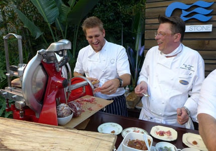 Chef Curtis Stone and Peter Roelant, Princess Cruises' manager of culinary operations
