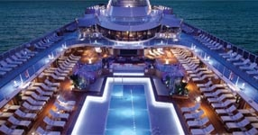 The pool deck aboard the Oceania Riviera