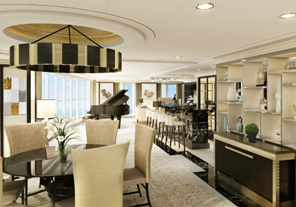 The living room of the Regent Suite on Seven Seas Explorer