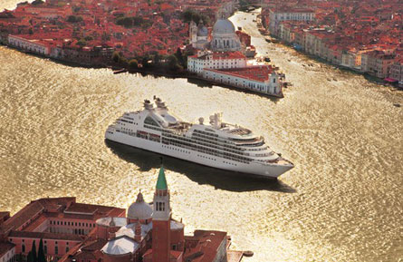 The Seabourn Odyssey as it arrives in Venice, Italy