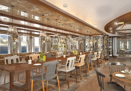 The dining room of Curtis Stone's restaurant SHARE aboard Princess Cruises