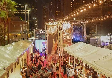 Bird's-eye view of the lively Los Angeles Food and Wine Festival