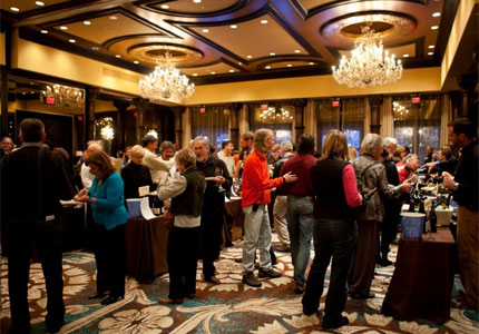 Mingling with fellow wine fans at the Taos Winter Wine Festival