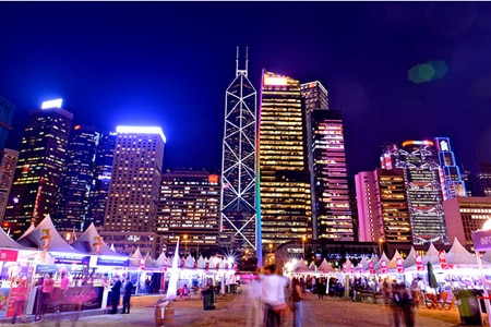 The illuminated skyline is the backdrop to the Hong Kong Wine & Dine Festival