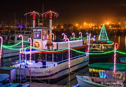 "A ""Dreamer"" vessel at bay, part of the California Sleigh Rides event in Ventura Harbor, CA"
