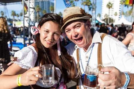 Guests raise a glass at Vegan Oktoberfest in Los Angeles, CA