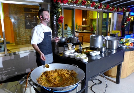 Guest chef Ryan Pollnow hosts a cooking demonstration at The Jackson Family Wines Culinary Series in Riviera Maya, Mexico