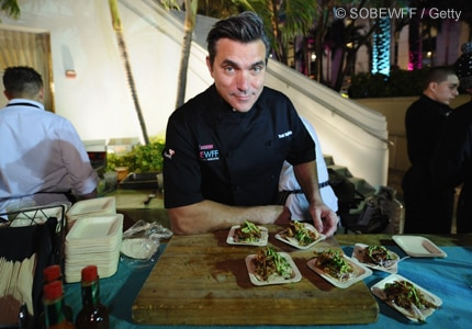 Celebrity chef Todd English serves up some grub at SOBE's Tacos After Dark event in Miami, FL