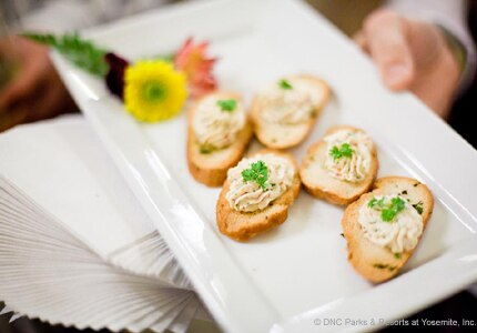 Hors d'oeuvres are served at the Chef's Holidays reception ceremony, held annually at The Ahwahnee Hotel in Yosemite National Park, CA