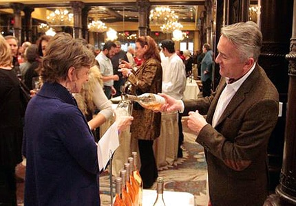 Guests enjoy a Sunday Champagne brunch at the Taos Winter Wine Festival in Taos Ski Valley, NM