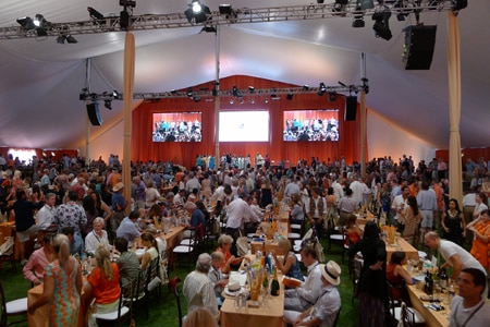 Inside the tent at Auction Napa Valley